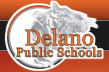 DelanoPublicSchools-logo-small Tiger profile in circle with orange text